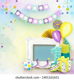 Frame for Birthday Party. Celebration of kid's birthday. Painted Birthday decorations on colorful background. Children's Birthday. Colorful happy party. First children party. Album memories scrapbook
