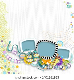 Frame for Birthday Photos. Celebration of kid's birthday. Painted Birthday decorations on colorful background. Children's Birthday. Colorful happy party. First children party. Album memories scrapbook