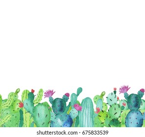 Frame border made of hand-drawn watercolor cactus plants with flowers