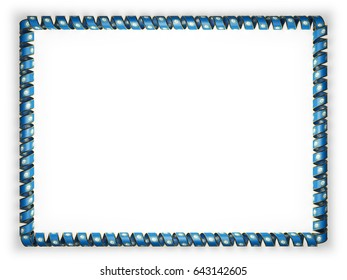 Frame and border of ribbon with the state South Dakota flag, USA, edging from the golden rope. 3d illustration