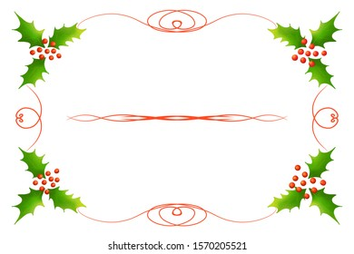 Frame with Christmas holly. Invitation card. Christmas postcard. Isolated on a white background. Raster graphics.