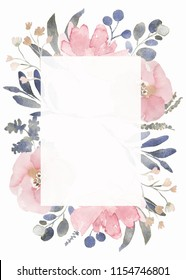 Frame composition decorated with dusty pink watercolor flowers and eucalyptus greenery