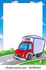 Frame with cute delivery car - color illustration.