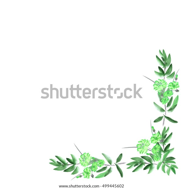 Frame with deep green foliage and wild green flowers on a white background. Watercolor