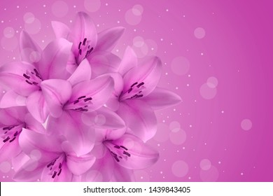 A frame of delicate beautiful purple lilies