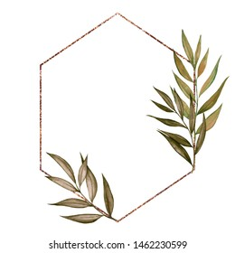 Frame with geometry and floral element, watercolor hand draw feathers, pampas grass, flowers and palm leaves, isolated on white background