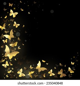 frame with gold butterflies on a black background