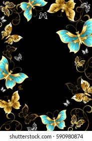 Frame with gold, jewels and butterflies on black background.