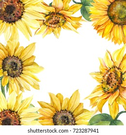 Frame. Greeting card with space for text, autumn composition of sunflowers, watercolor botanical illustration