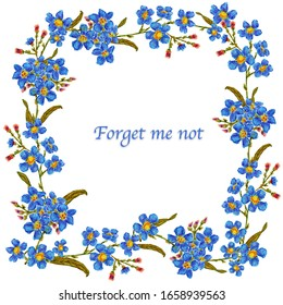 Frame with hand drawn flowers forget me not, greeting card, invitation, high quality for print, blue flowers, white background, floral style
