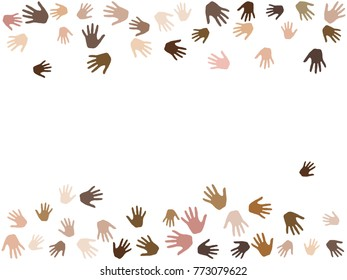 Frame of hands with skin color diversity image background. Cohesion concept icons, social, national, racial issues symbols. Hand prints, human palms - friendship, help, support, teamwork concept.