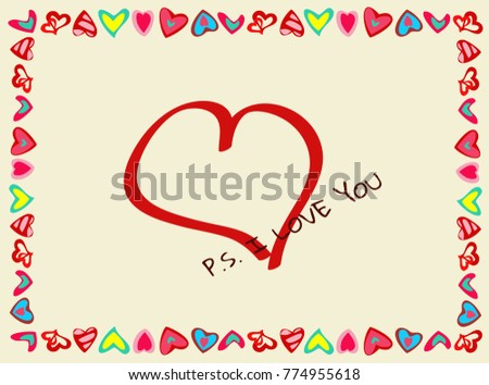 Frame Hearts Declaration Love Perfect Your Stock Illustration ...