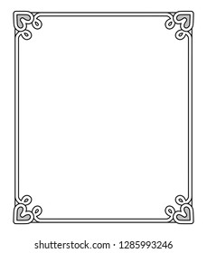 Frame with heart-shaped figures at each corner on top and on bottom, empty inside of it raster illustration isolated on white background