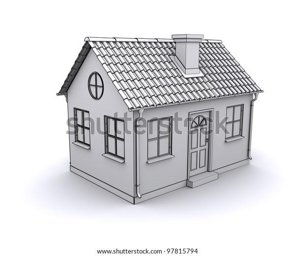 Frame House 3d Model White Stock Illustration 97815794