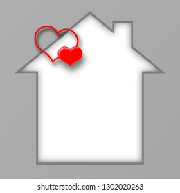 Frame. House. Postcard with a house and hearts. I love my house. Illustration