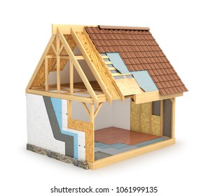 frame house, which shows a scheme for installing hot walls and waterproofing roofs. 3d illustration