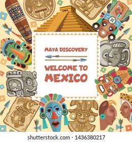 frame with illustrations of various tribal mayan symbols. Ancient aztec ethnic mexico culture, inca native mask
