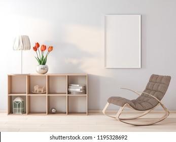 Frame in interior 3d rendering