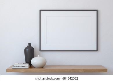 Frame landscape mockup. Interior with large horizontal frame. 3d render.