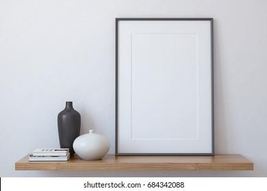 Frame landscape mockup. Interior with large vertical frame. 3d render.