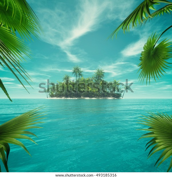 Frame of leafs deserted tropical paradise in the middle of the ocean. This is a 3d render illustration