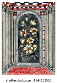 Frame with lily flowers in room with water pool and greek columns. Graphic engraved illustration. Fantasy and mystic drawing. Gothic, occult and esoteric background with spiritual symbols