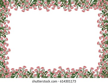 A frame made of a lot of little pink roses