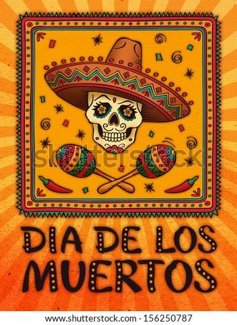 Frame Mexican Skull Sombrero Raster Version Stock Illustration