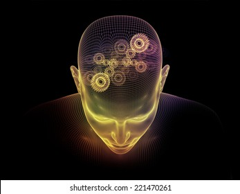 Frame of Mind series. Backdrop of human face wire-frame and fractal elements on the subject of mind, reason, thought, mental powers and mystic consciousness