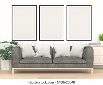 frame mock up furniture in front of the empty wall 3d rendering modern home design,mockup element for graphic design wall mock up