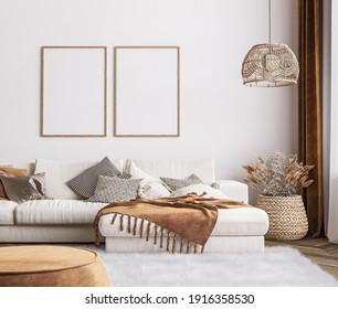 Frame mockup in bright living room design, white sofa in farmhouse boho interior style, 3d render, 3d illustration