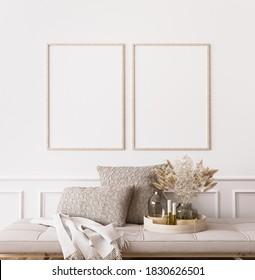 Frame mockup in contemporary living room design, two vertical frames on white wall background, 3d render, 3d illustration