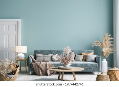 Frame mock-up in home interior with blue sofa, wooden table and decor in blue living room, 3d render, 3d illustration