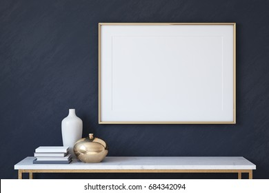 Frame mockup. Interior with large horizontal frame on dark blue wall. 3d render.