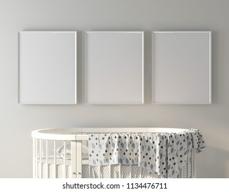 Frame mockup on wall with oval crib 3d rendering