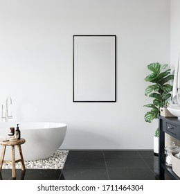 Frame mockup in scandinavian interior. Interior mockup. 3d rendering, 3d illustration