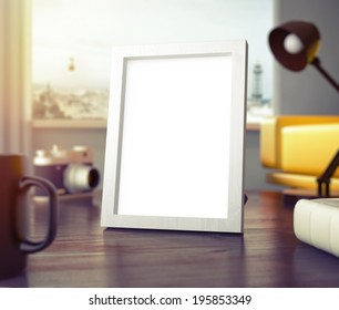 Frame on table