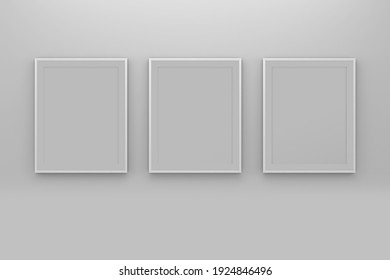 Frame pictures mockup isolated on wall; 3D; 3D Illustration