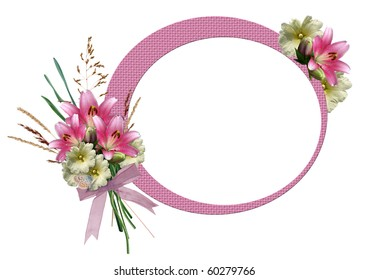 Frame for pictures or text with a bouquet of lilies and hollyhocks.  Page wedding book