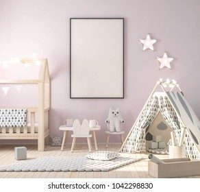 Frame poster in kids room 3d rendering