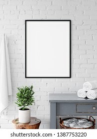 Frame & Poster mock up in bathroom.  Scandinavian interior. 3d rendering, 3d illustration