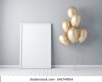 Frame poster mockup with gold balloons, air ballon, gray wall 3d rendering