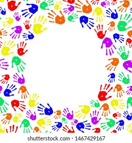 Frame of rainbow handprint on white background. Hands palms in circle. Copy space for text.