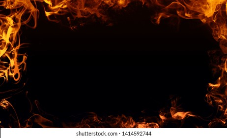 Frame of real fire flames burn motion smoke . Border texture overlays.