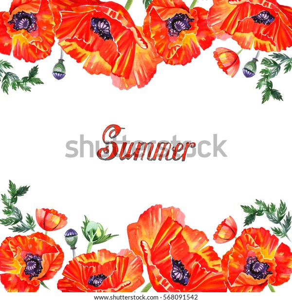 Frame with red watercolor poppy flowers. Greeting.