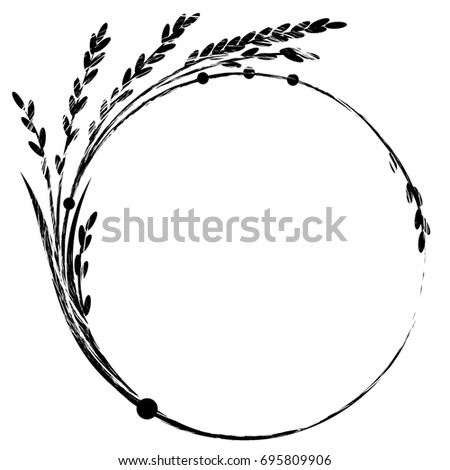 Frame Rice Black White Colors Stock Illustration Royalty Free