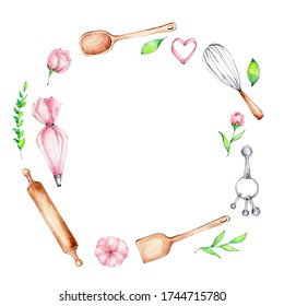 Frame of rolling pin, wooden spoon, pastry bag, cookie cutter, whisk and pink flowers; watercolor hand draw illustration; can be used for logo or kitchen poster; with white isolated background