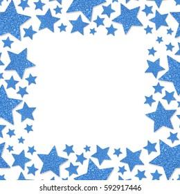 Frame of shiny blue metal stars isolated on white background. Glitter powder border for St.Valentine's Day