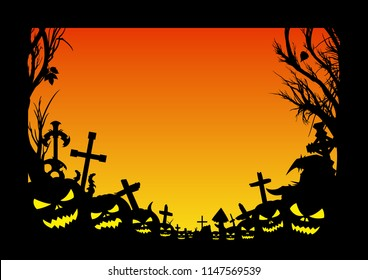 Frame with silhouettes of pumpkin jack-o-lanterns, trees, leaves, crosses in the cemetery. Halloween card or flyer with copy space.