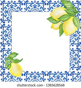 Frame with silian floral ornament and fruits